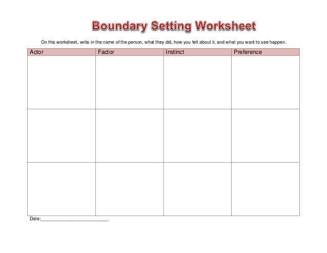 Worksheet boundary setting this worksheet write in the name of the person what they did