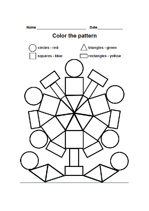color by shape worksheet printable