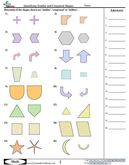 Identifying Similar and Congruent Shapes worksheet