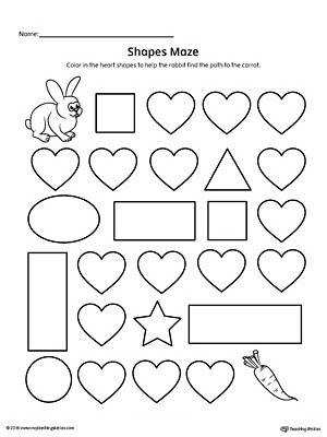 Heart Shape Maze Printable Worksheet