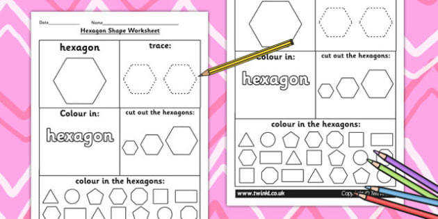Hexagon Shape Worksheet shapes 2D shapes tracing numeracy