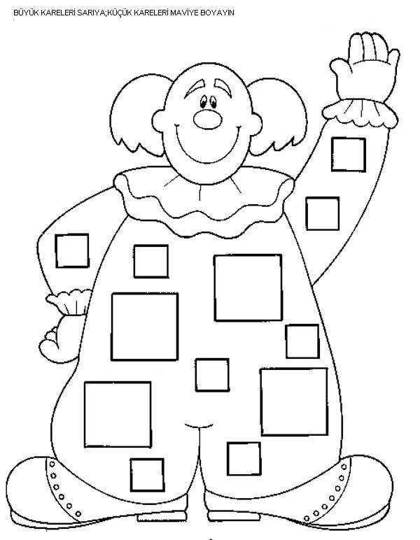 Square worksheets for preschool – trace and color