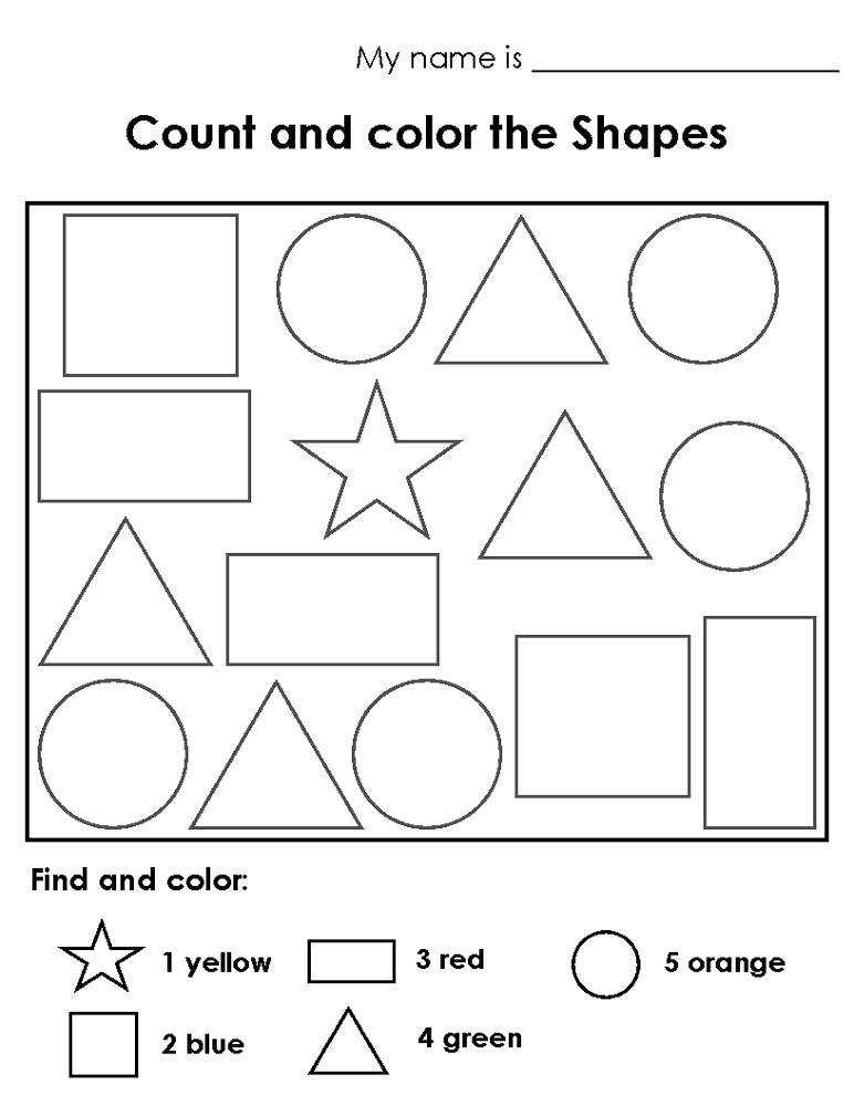 color the shapes worksheet for children
