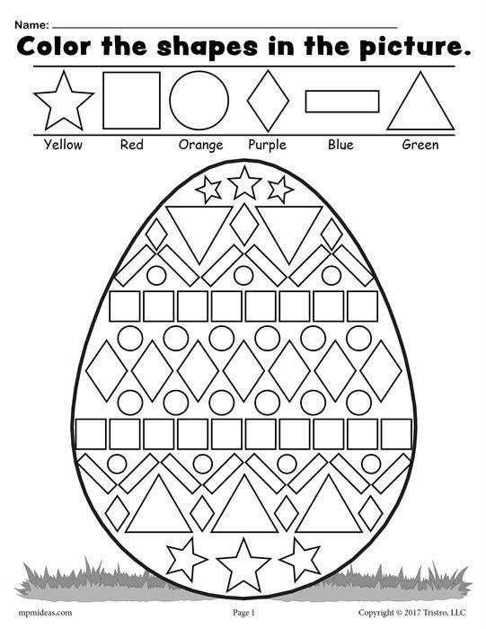 FREE Easter Egg Shapes Worksheet and Coloring Page