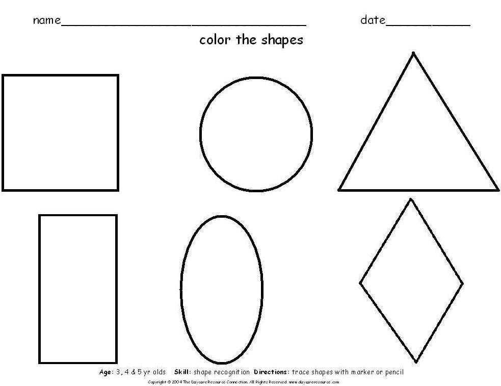 Free Pre K Worksheets Shapes Worksheet Printable