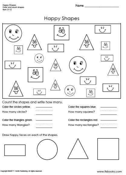 Snapshot image of Happy Shapes worksheet