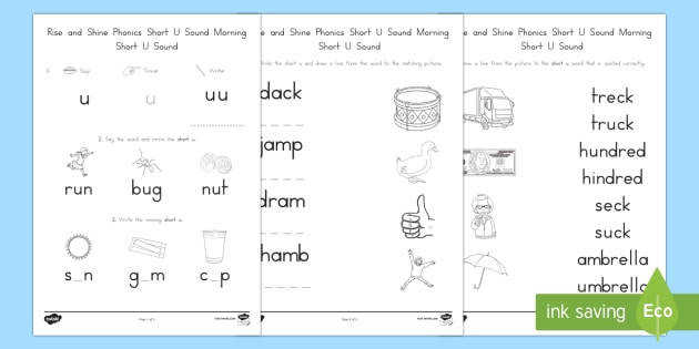 us l 56 rise and shine phonics short u sound morning activity sheets ver 3
