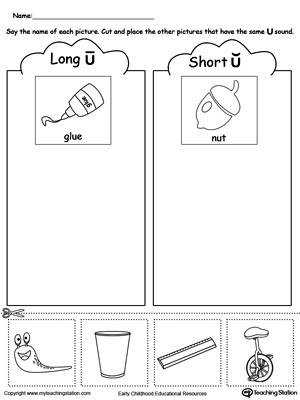 Short and Long Vowel U Picture Sorting DownloadFREE Worksheet