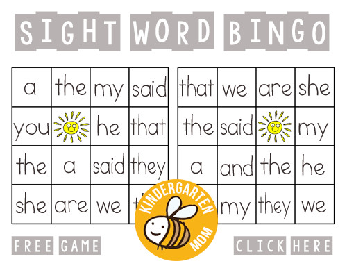 Sight Word Bingo Printables