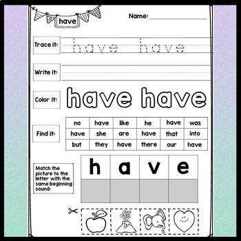 Second Grade Sight Word Worksheets 46 Pages