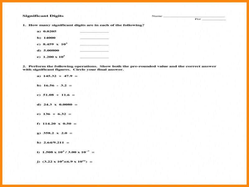 6 Worksheet Significant Figures