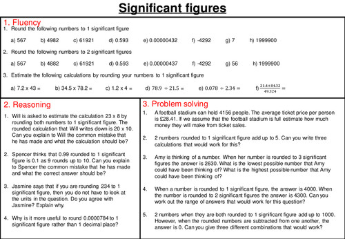 Rounding to significant figures mastery worksheet by joybooth Teaching Resources Tes