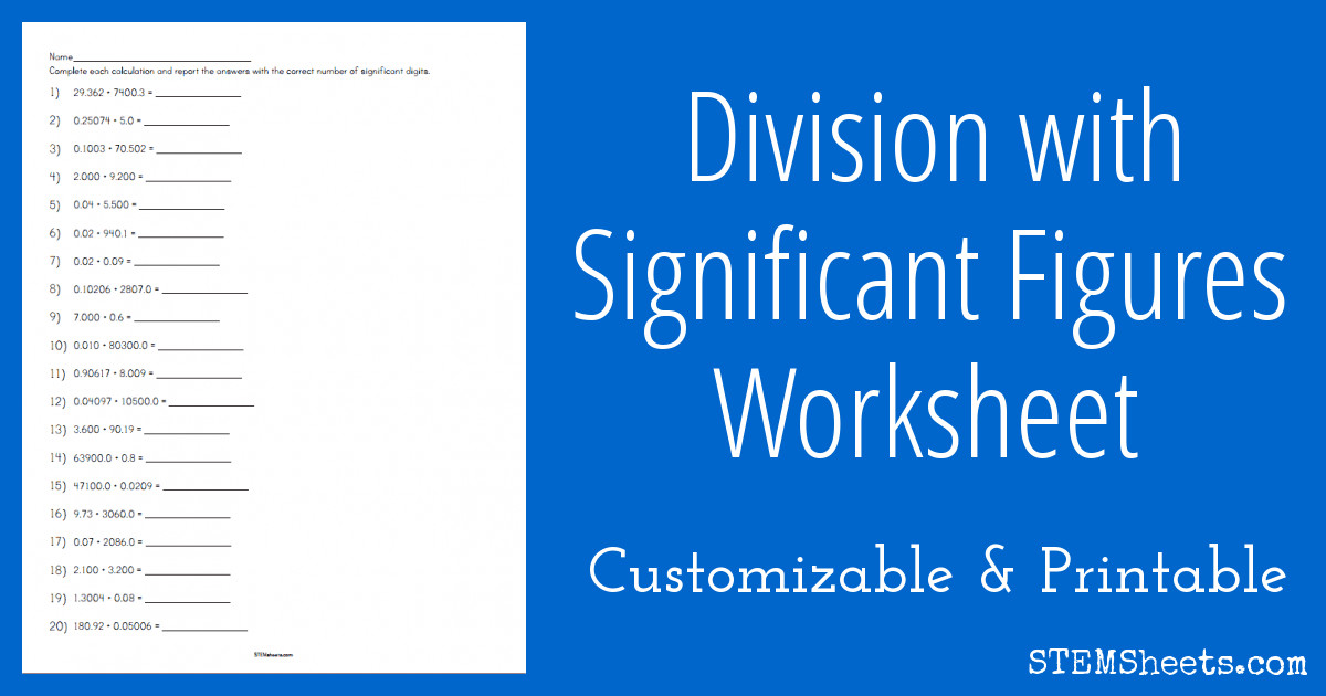 significant figures division worksheet