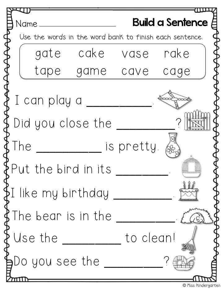 """Build sentences using words with the silent """"e"""""""