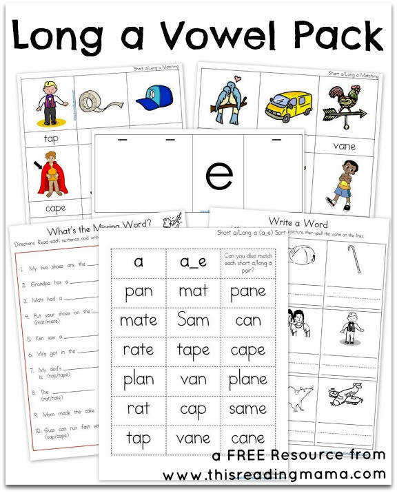 FREE Long A Vowel Pack This Reading Mama