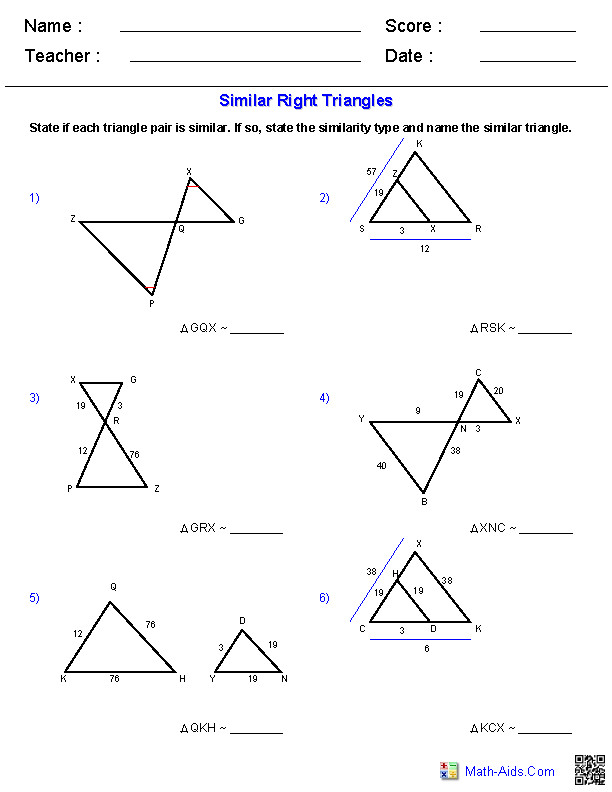 Similar Triangles Worksheets