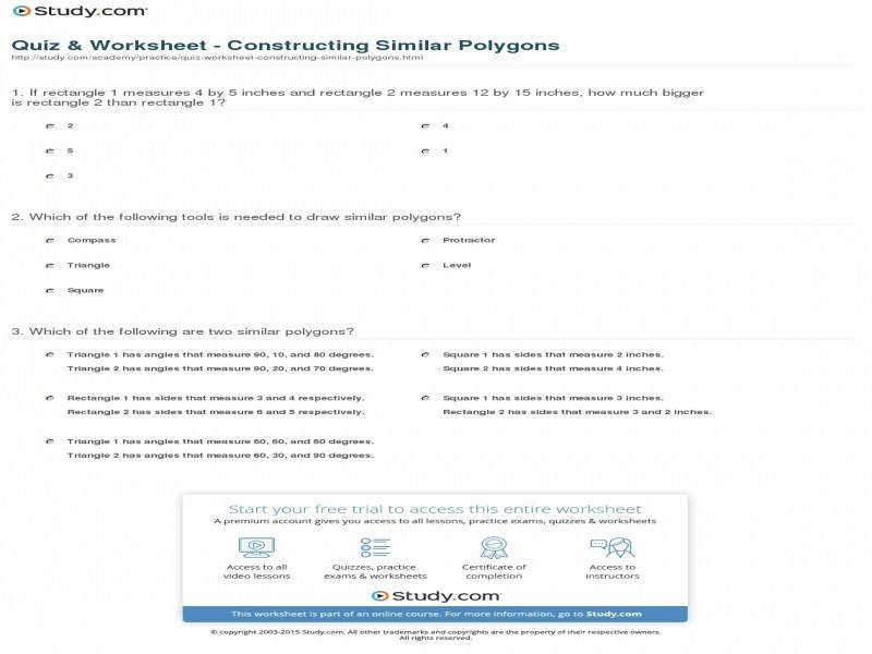 Quiz & Worksheet – Constructing Similar Polygons