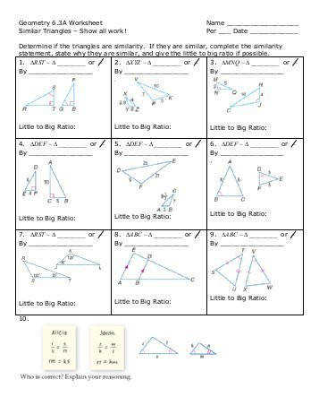 Geo Similar Triangle Worksheet