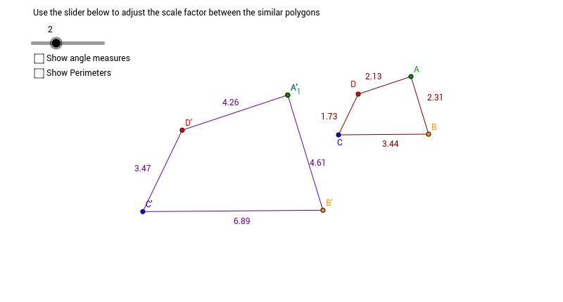 Change the polygon on the right by dragging one or more of its vertices and repeat questions 1 5 for these new polygons
