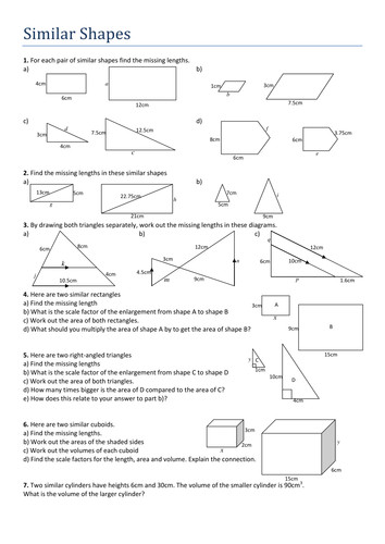 Geometry worksheets similarity using similar polygons worksheets
