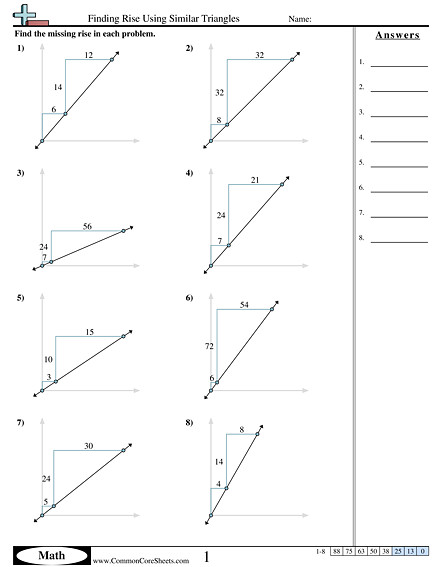 Finding Rise using Similar Triangles worksheet