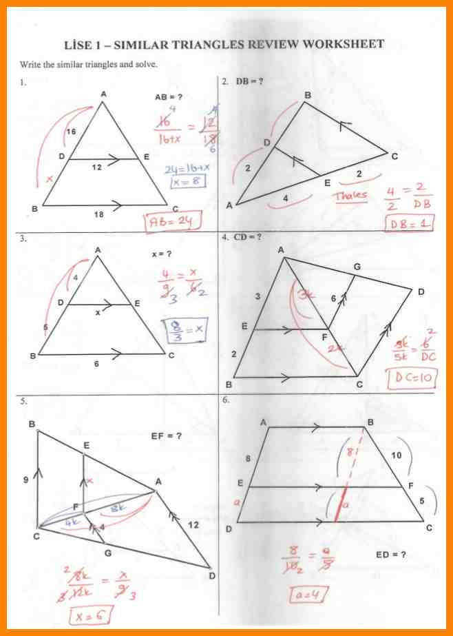 similar triangle worksheetmilar triangle review worksheet answer key 1 638 cb=