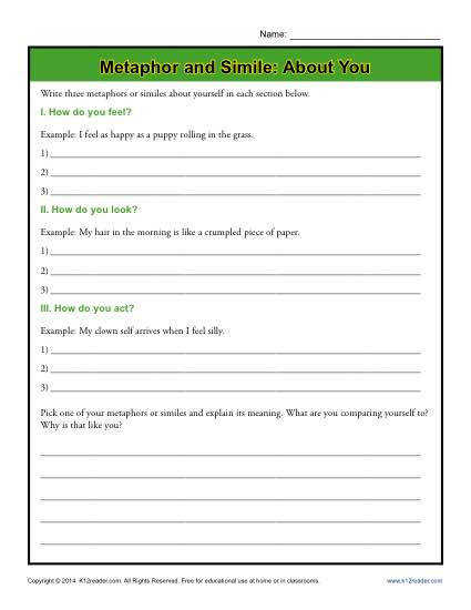 In this worksheet your student will write metaphors and similes about himself