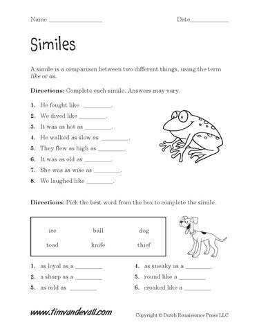 Simile Worksheet this gentleman has many educational tools for children