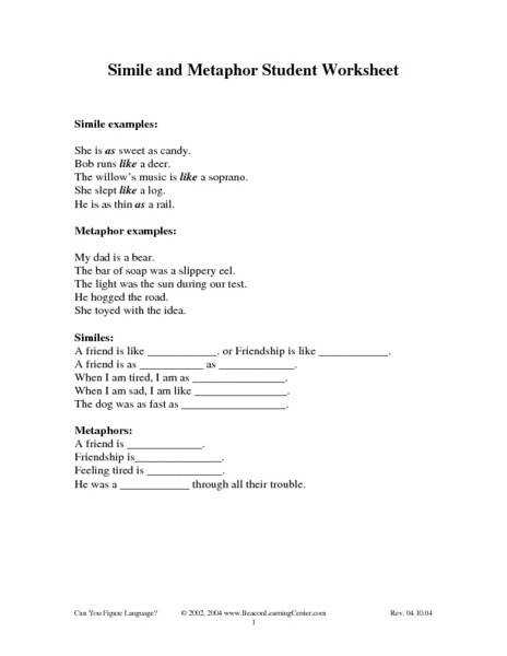 Ideas of Metaphor And Simile Worksheets For Middle School In Sheets