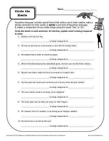 Figurative Language Simile Metaphor Personification · Metaphor Worksheets