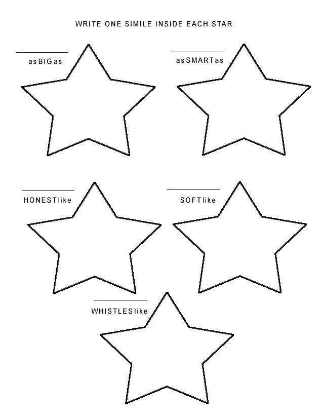 Please print the Star Simile Worksheet
