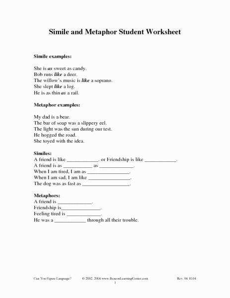 Simile Metaphor Worksheet Lovely Simile and Metaphor Student Worksheet 4th 6th Grade Worksheet