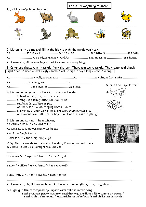 Song Worksheet Everything at ce Similes