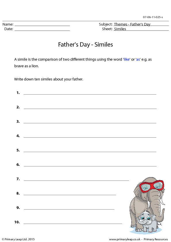 Writing Similes Father s Day