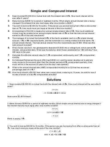 Math 107 Worksheet 23 · Simple And pound Interest Worksheet Samsungblueearth