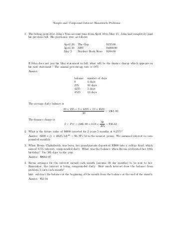 Simple and pound Interest Homework Problems 1 The billing