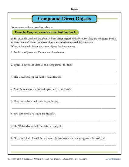 pound Direct Object Worksheet Activity