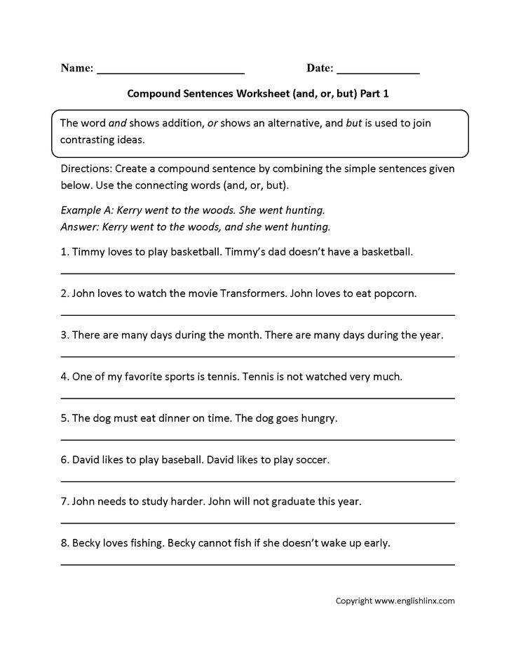 This pound sentences worksheet instructs the student to create a pound sentence by joining two simple sentences to her