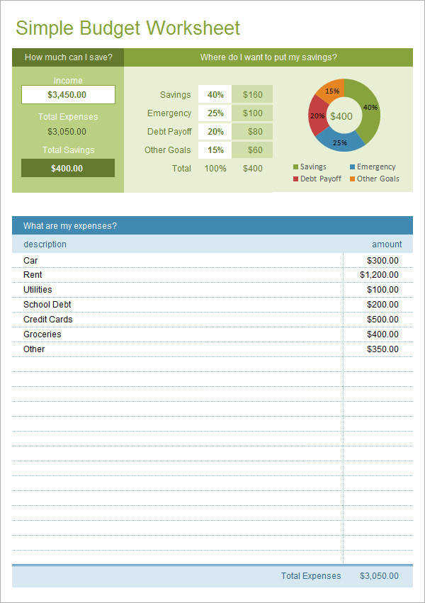 Simple Bud Worksheet Excel