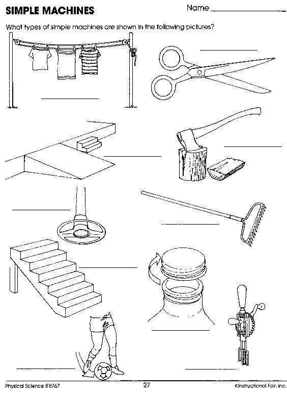 simple machines worksheet Homeschool Science