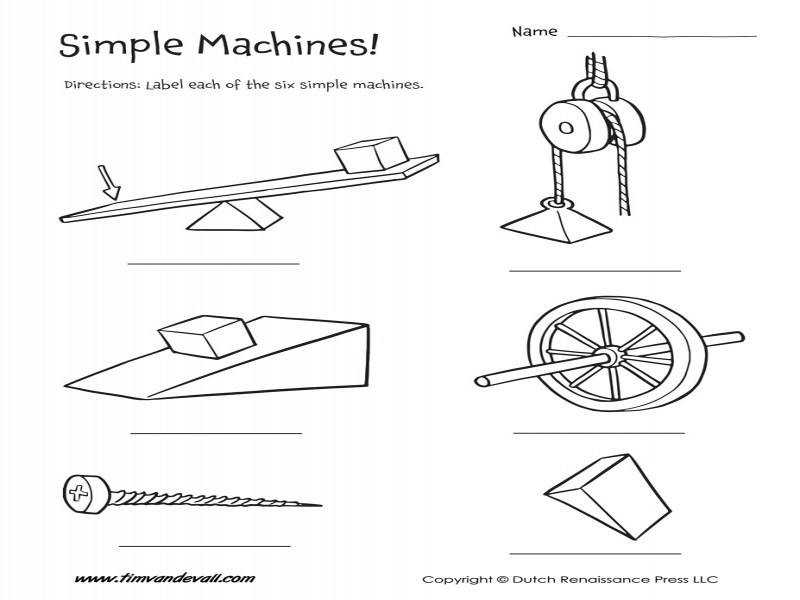 Six Simple Machines Worksheet – Tim s Printables