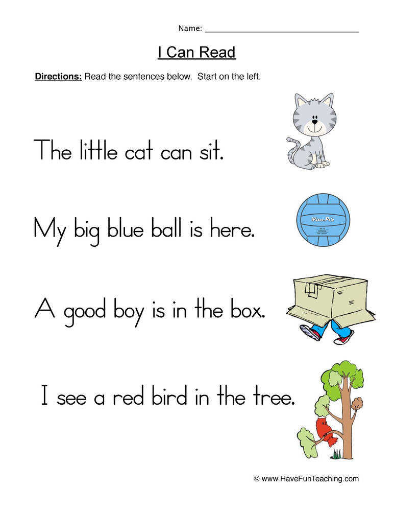 Simple Sentences Worksheet 1