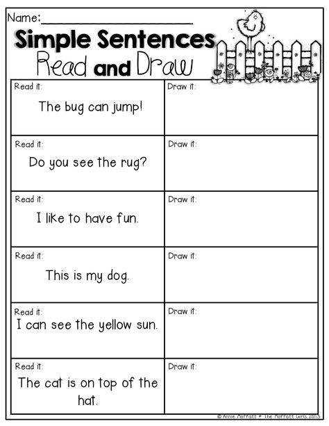 Simple Sentences Read and Draw Read the simple sentences and draw a picture to