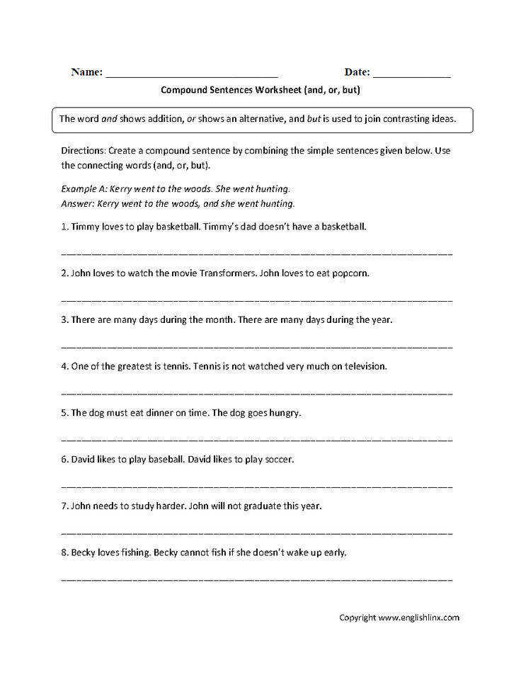 This pound sentences worksheet instructs the student to create a pound sentence by bining the simple sentences