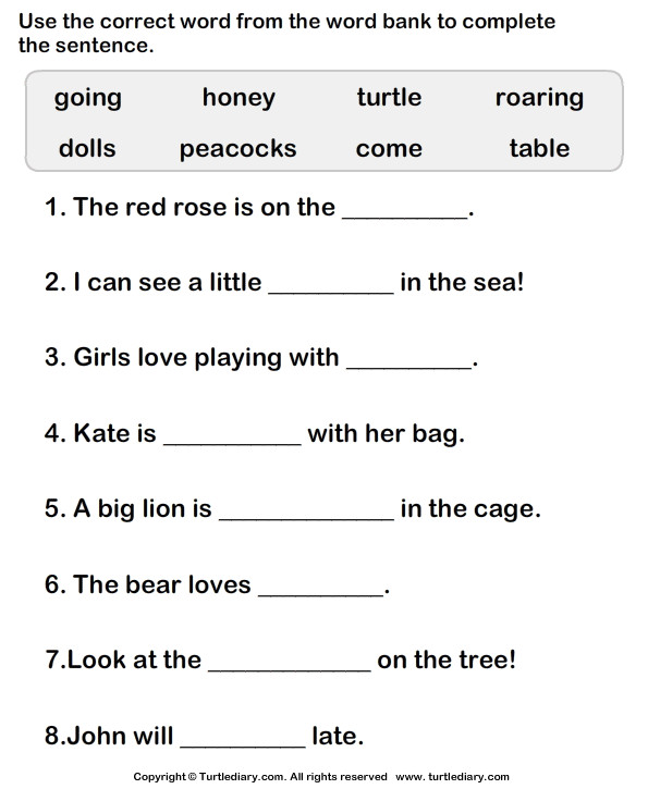 Choose Correct Word to plete the Sentence Worksheet