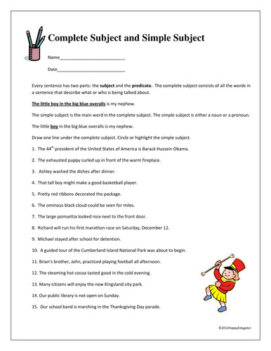 plete Subject and Simple Subject Worksheet by Happyedugator Teaching Resources Tes