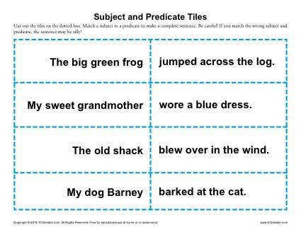 Subject and Predicate Tiles
