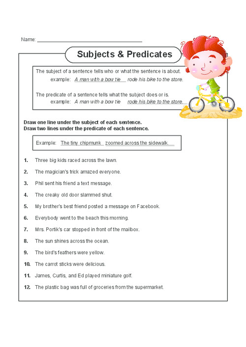 Help your child master subject and predicates with this free printable worksheet The worksheet