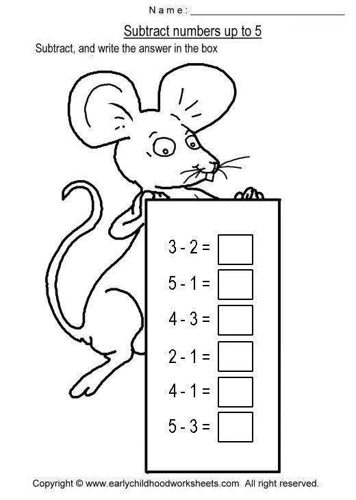 Easy and simple subtraction worksheets for early childhood education preschool kindergarten kids subtract numbers up to
