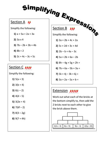 Simplifying Expressions Differentiated Worksheet by fionajones88 Teaching Resources Tes